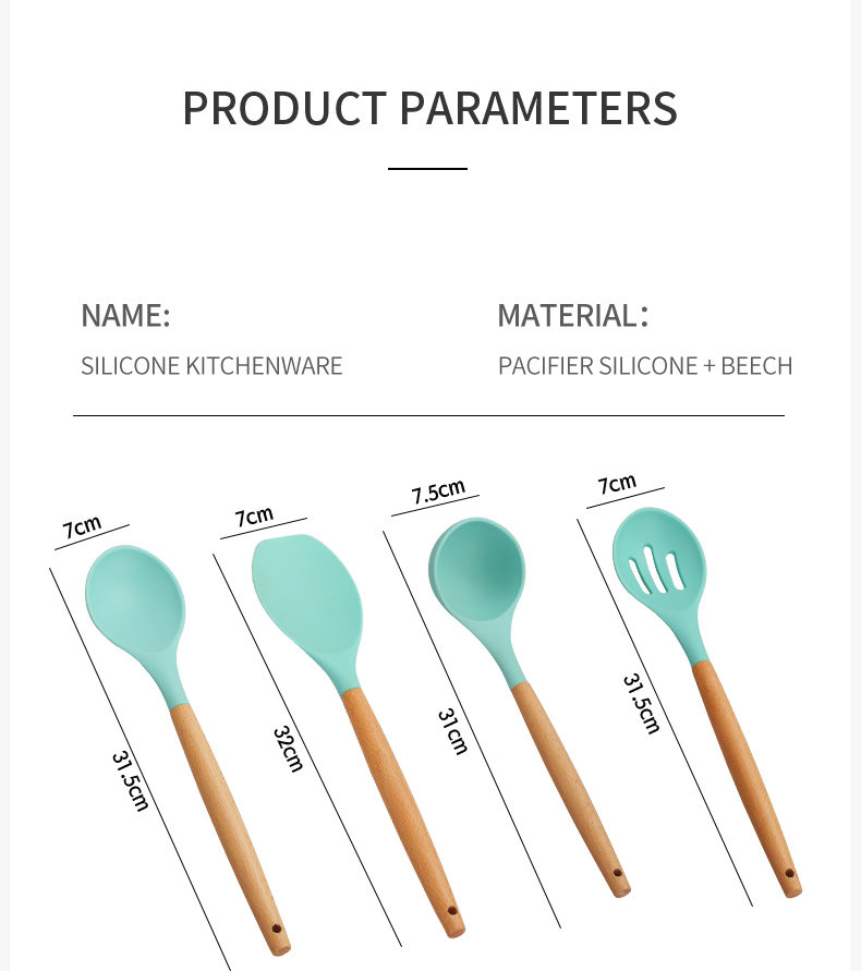 WORTHBUY Silicone Cooking Utensils Set Non-Stick Kitchenware Spatula Shovel With Wooden Handle Heat Resistant Cooking Tools Set