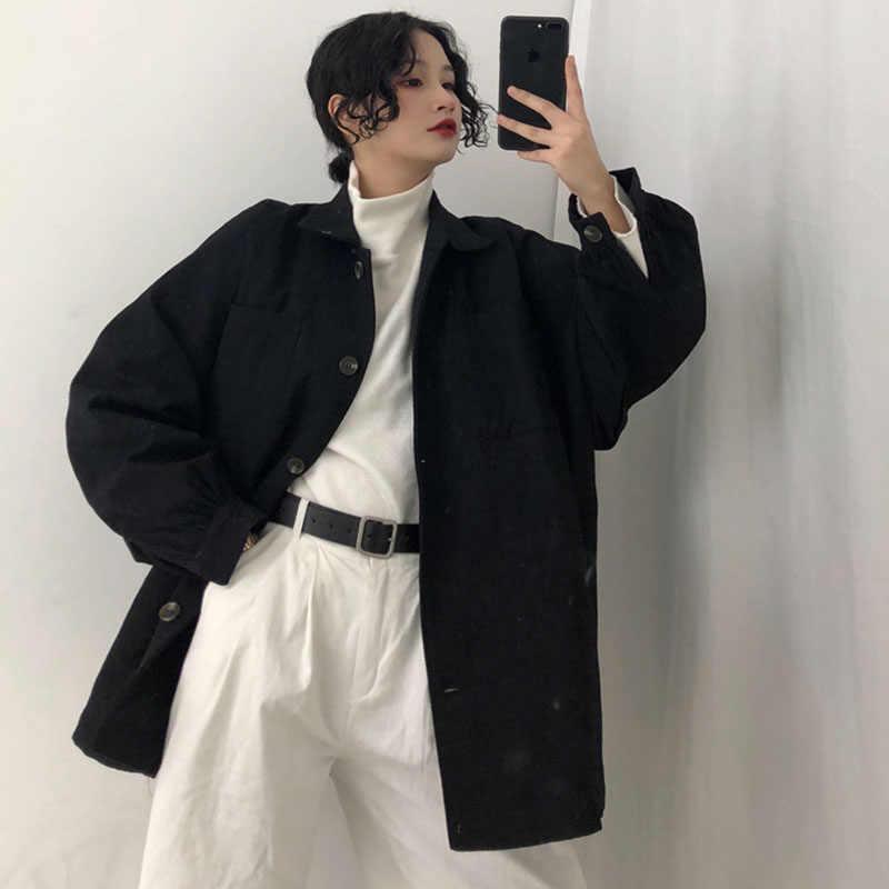 ハイストリート女性生き抜く特大スタイリッシュなジャケットプラスサイズ大緩いシングルブレスト長袖コート女性トップス黒カーキ