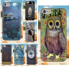 Soft Mobile Cases Covers Owl Art In Wood For iPhone X 4S 5S 5C SE 6S 7 8 Plus Galaxy Note 5 6 8 S9+ Grand Core Prime Alpha(China)