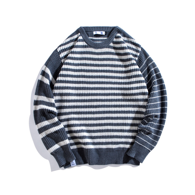 2019 Spring And Autumn New Youth Popular Male Original Fashion Casual Striped Sweater Simple Loose Pullover Gray / Black M-2XL