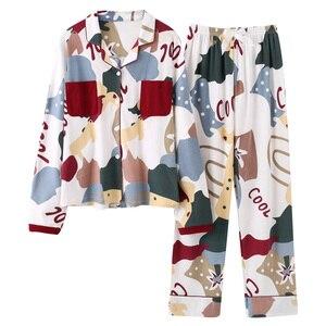 Image 4 - BZEL Neue Herbst Winter Nachtwäsche 2 Stück Sets Für frauen Baumwolle Pyjamas drehen unten Kragen Homewear Große Größe pijama Pyjama XXXL