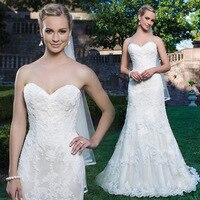 Robe de mariee Elegant Lace Appliques Mermaid Wedding Dress 2019 Sweetheart Buttons Bride Dress Luxury Abiti da sposa