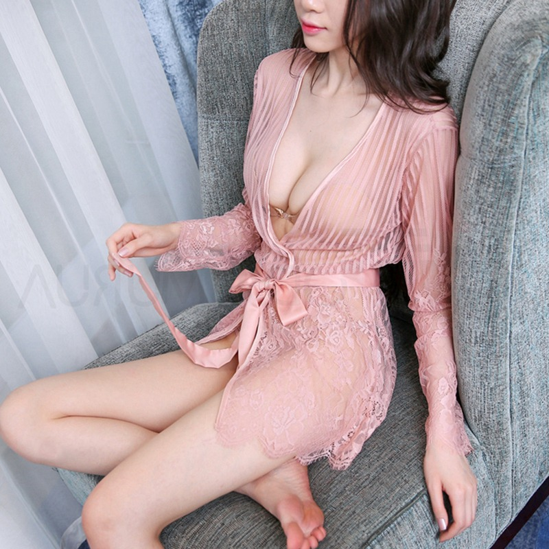 Hot Sexy Lace Striped Nightwear Women Sexy Nightwear Sleepwear Sexy Exotic Costumes Nightwear Mesh NightDress