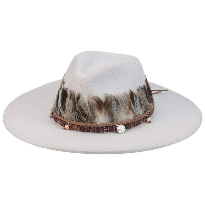 fedora hats big brim 9.5cm solid green yellow band feather women hats western cowboy jazz outdoor casual men women winter hats