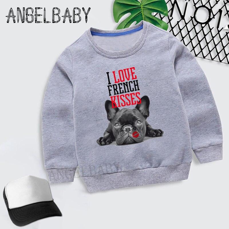 Girls Sweatshirt Bulldog French Kids Kisses Cartoon Hoodies Autumn Baby Boys Children