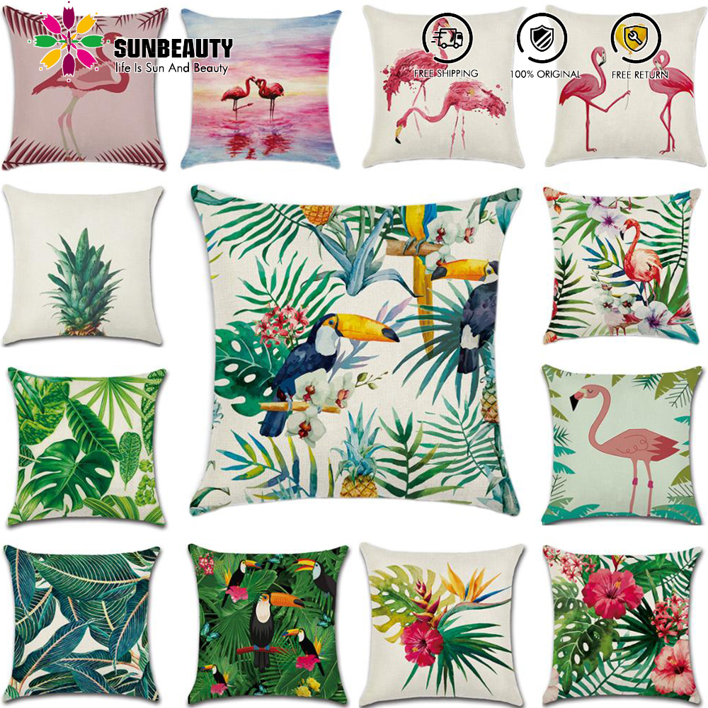23 Sty Decorative Throw Pillow Covers Summer Hawaiian Tropical Party Flamingo 45x45cm Square Cushion Cover Pillow Case Sofa Room