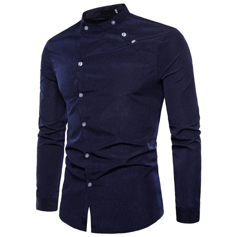 Autumn Men's Shirt Casual Slim Business Top Stand Collar Long Sleeve Black White Dress Shirts Tops Male Streetwear Clothes