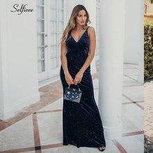 Sparkle Velvet Maxi Dress V-Neck Mermaid Spaghetti Straps Sleeveless Bodycon Sexy Party Women Evening Gowns Robe Femme