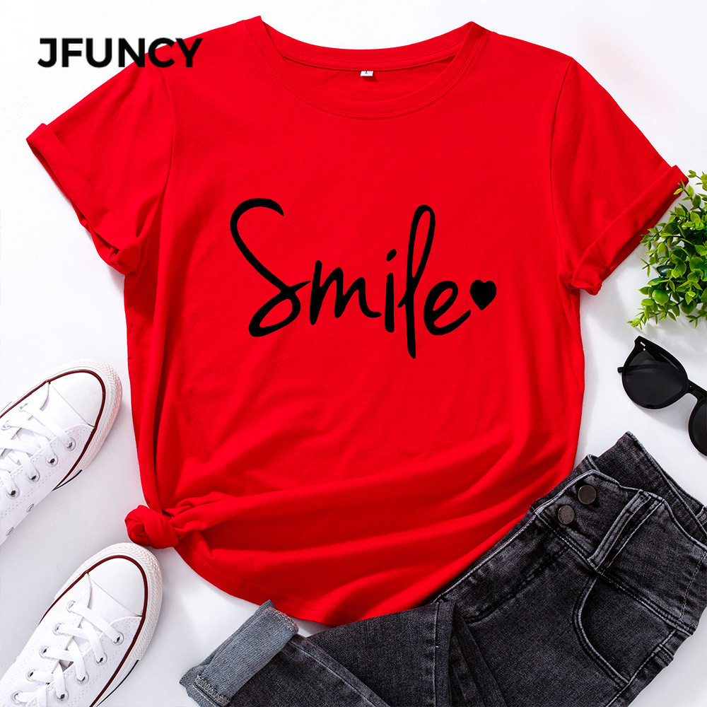 Graphic Tees T-Shirt Short-Sleeve Woman Tops Smile-Letter Print Plus-Size 100%Cotton