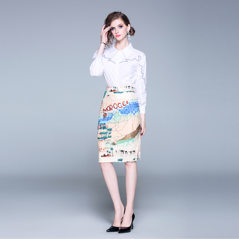 2019 Debutante New Style Fold-down Collar Long Sleeve Lines Embroidered Shirt Tops + Printed Skirt