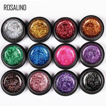 ROSALIND 12PCS/SET Shiny Silk Gel Nail Polish Manicure Kit Nail Art Design Hybrid Glitter Platinum Gel Lacquer Top Base Coat 4
