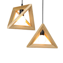 Solid Wood Pendant Lights Triangle Modern Nordic Style Hanging Lamp for Dining Kitchen Decor Bedroom Living Room Bar Home Loft nordic ph pendant lights modern louis designer hang pendant lamp for dining room bedroom bar decor home e27 luminaire suspension