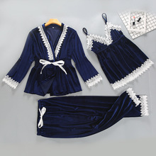 Осенне-зимний теплый пижамный комплект из 3 предметов, женские сексуальные пижамы, ночная сорочка на бретельках без рукавов, длинные штаны, Халат