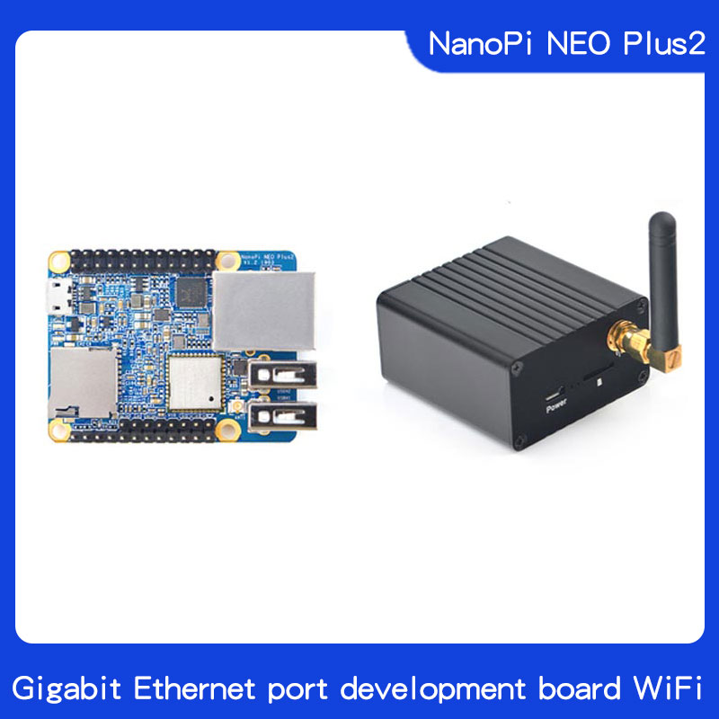 Friendly NanoPi NEO Plus2 All-in-one H5, Gigabit Ethernet Port IoT Development Board WiFi Bluetooth With Metal Case+Heatsink