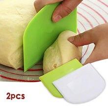 2 pçs cortador de pastelaria de plástico cortador de massa de pizza raspador bolo espátulas ferramenta fondant sugarcraft branco trapezóide pão baker pp manteiga faca
