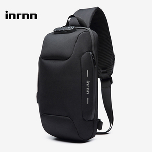 inrnn Multifunction Chest Bags for Men Anti Theft Crossbody Bag Male USB Charging Sling Messenger Bag Waterproof Mens Chest Pack