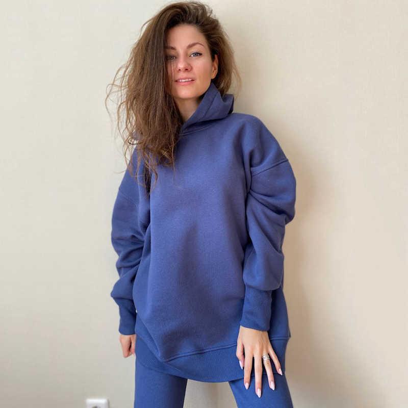 GCAROL Herbst Winter Frauen Sets Extra Lange Mit Kapuze Anzüge 80% Baumwolle Fleece Übergroßen Freund Sweatshirt Elastische Taille Pluderhosen
