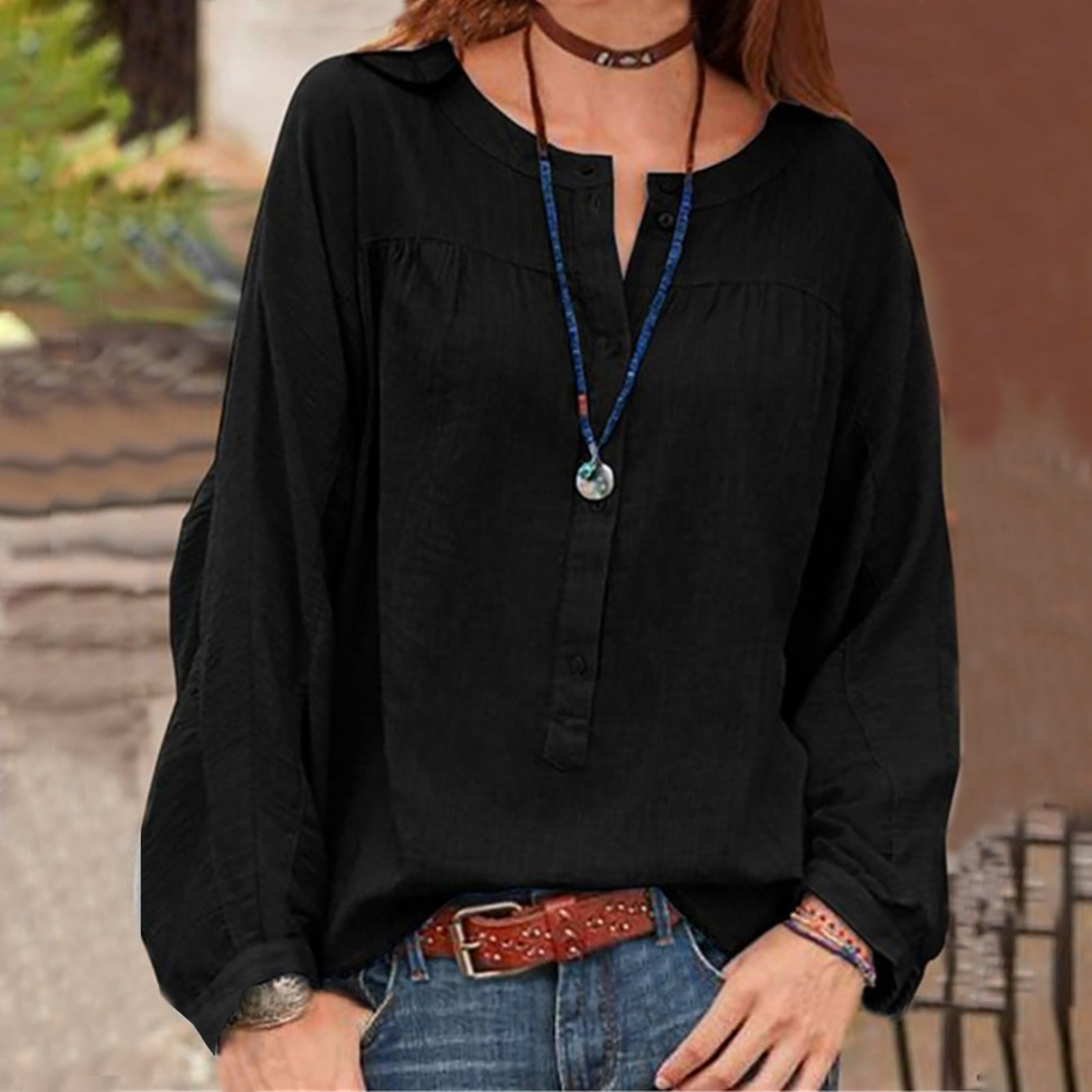 Women Blouses O-neck Solid Open Tube Button Fashion Casual Long Sleeve Blous T Shirt For Women Clothing Blusas Camisas Mujer