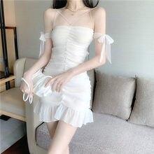 Mini robe de soirée sans manches, élégante, blanche, Sexy, dos nu, tenue de soirée française, été, 2020