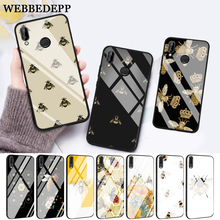 WEBBEDEPP Cartoon animal bee Glass Case for Huawei P10 lite P20 Pro P30 P Smart honor 7A 8X 9 10 Y6 Mate 20