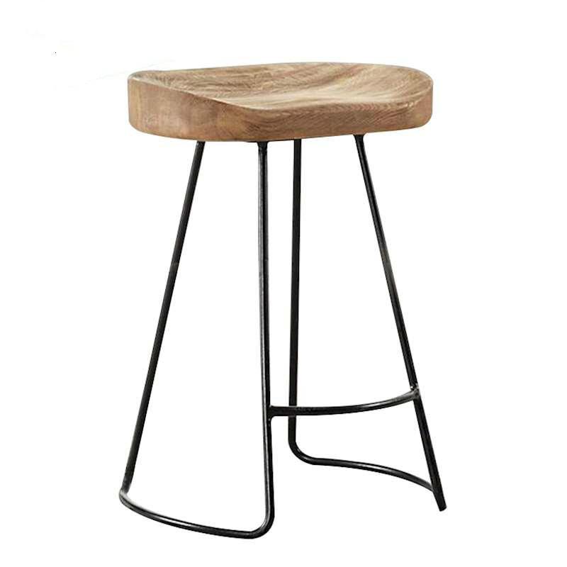 Modern Simple Solid Wood Iron Bar Chair American Retro Bar Chair High Chair Bar Stool Front Desk Chair Coffee Chair
