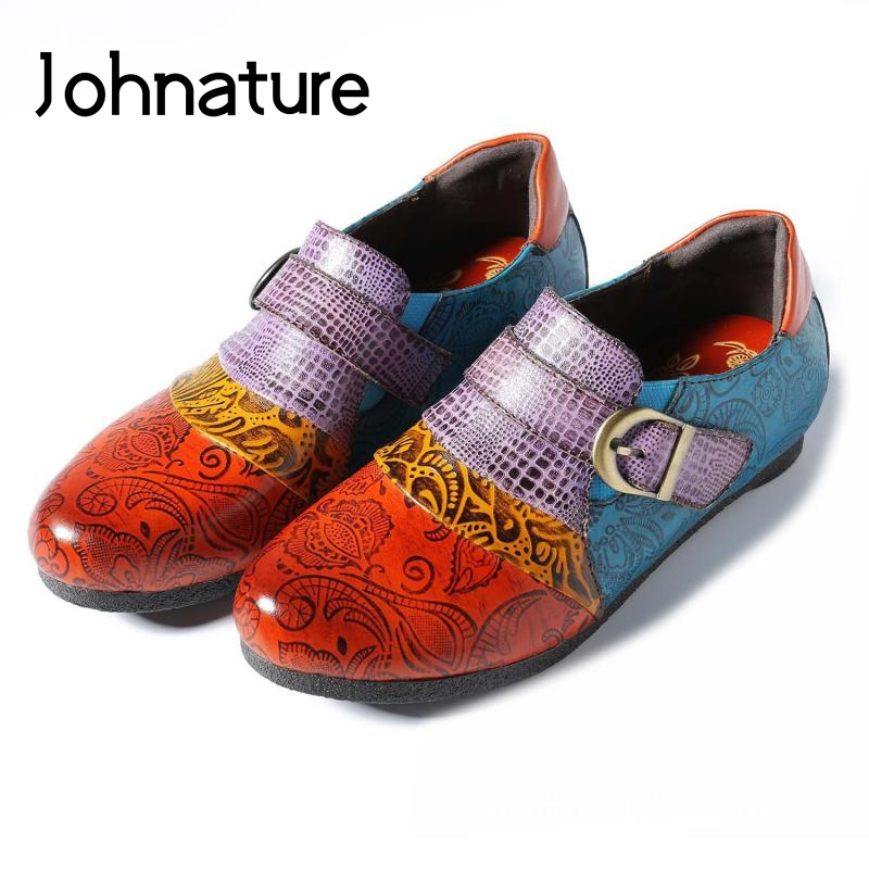 Johnature Autumn Flats Women Shoes Mixed-Colors Slip-On Genuine-Leather New Casual Hand-Painted