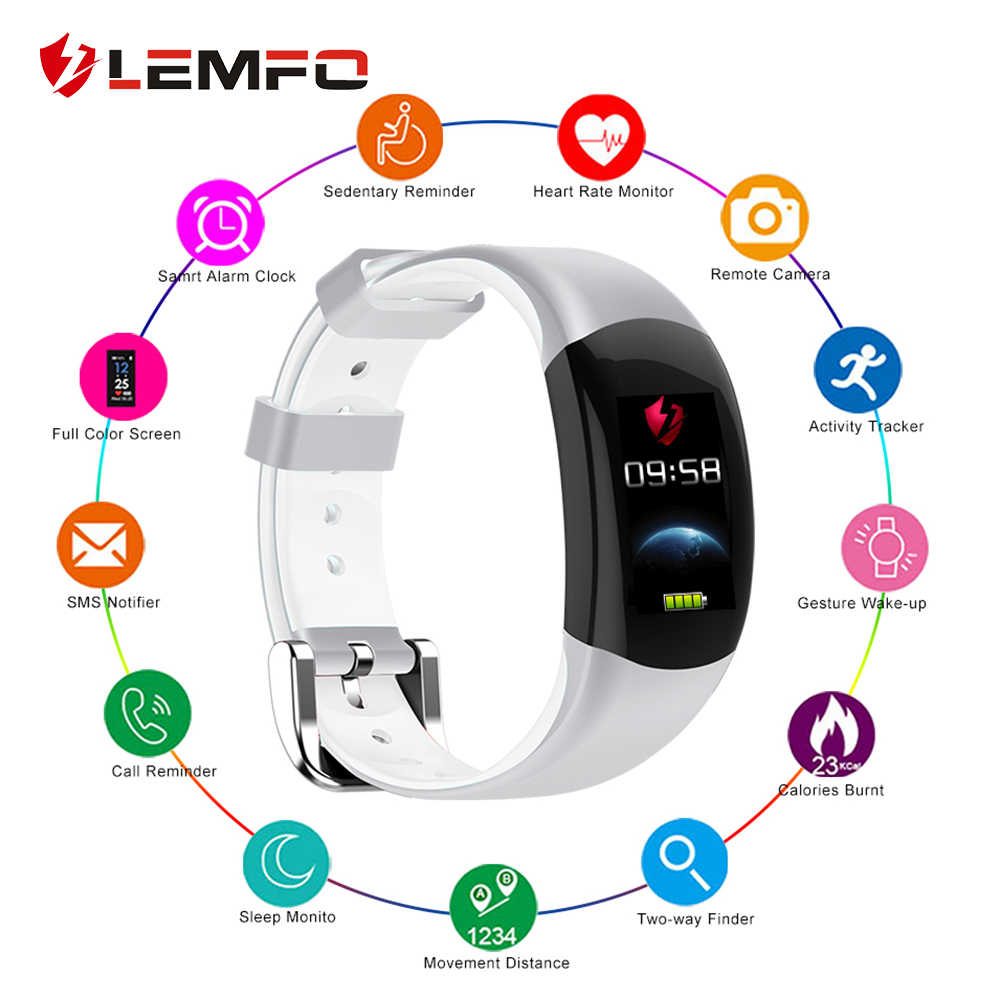 LEMFO LT02 Smart Watch Men Women IP68 Waterproof Pedometer Heart Rate Blood Pressure Monitor Fitness Bracelet for Android IOS