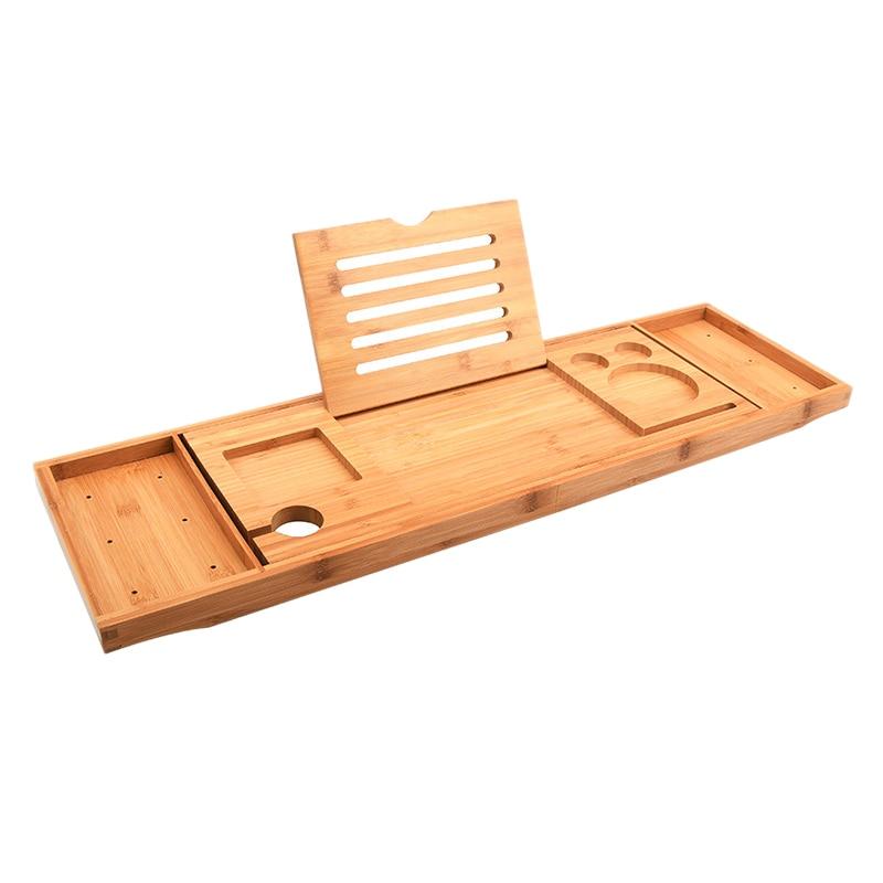 FashionAdjustable Bathtub Tray Bathtub Caddy Tray Multifunctional Bamboo Bathroom Organizer With Expandable Sides Holder For Boo