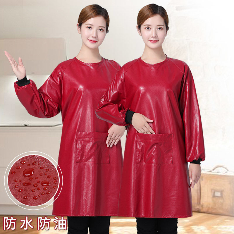 Leather Apron Long Sleeve with Waterproof Oil Resistant Apron Household Adults Overclothes Women's Aquatic Products Apron Winter|Oversleeves| |  - title=