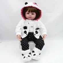 47cm bebes reborn boneca cama tempo bebê menina bonecas silicone macio lifelike vivo da criança brinquedo recém-nascido presentes do dia das crianças brinquedos