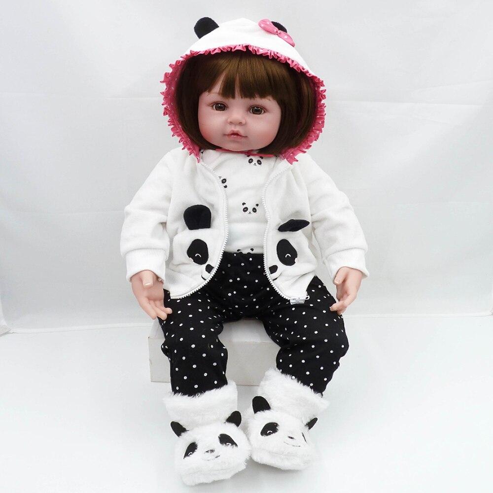 47cm Bebes Reborn poupée lit temps bébé fille poupées Silicone souple réaliste vivant bambin nouveau-né jouet enfants jour cadeaux jouets