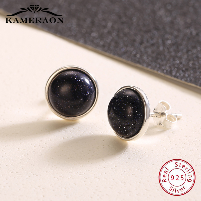 925 Sterling Silver Earrings For Women Korea Stud Earings Black With Stones Aventurin Fashion Jewelry Stud Earring Evening Party