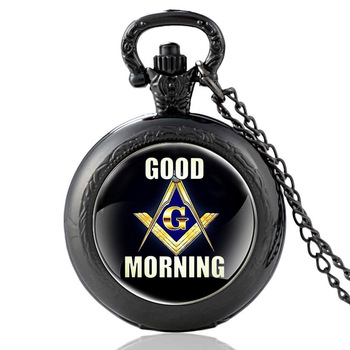 Fashion Classic Black GOOD MORNING Glass Dome Quartz Pocket Watch Women Men Necklace Pendant Chain Jewelry Birthday Gifts new arrive sliver chain necklace michael jackson glass pendant statement cabochon necklace men women jewelry gifts