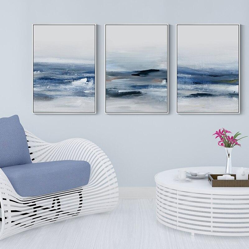 Современная Картина на холсте, Настенная картина, печать для гостиной, декоративная абстрактная картина с голубым морем для спальни, домашний декор, постер