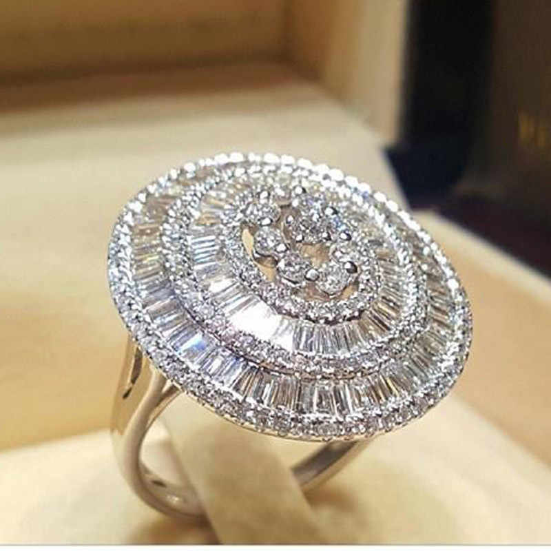 WUKALO S925 Luxury Sparkly Big Stone AAA Zircon Silver Ring For Women Engagement Wedding Shiny Ring Party Jewelry Fashion Female