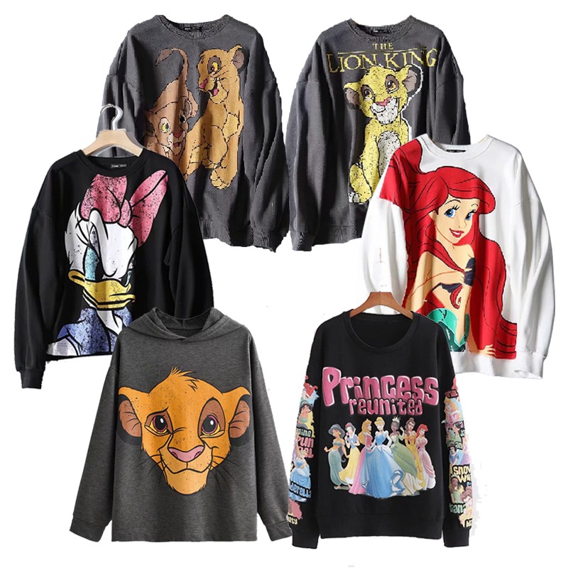 Women Sweatshirt Hooded Tee Jumper The Lion King Coat Top Hoodies Women Clothing Pullover Streetwear Cartoon 2020 Spring Autumn