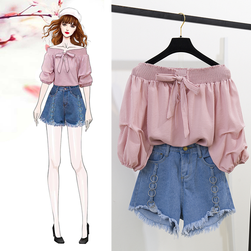 Summer New Off Shoulder Loose Half Lantern Sleeve Solid Cute Blouse Jean Shorts Two-Piece Outfit Casual Sets