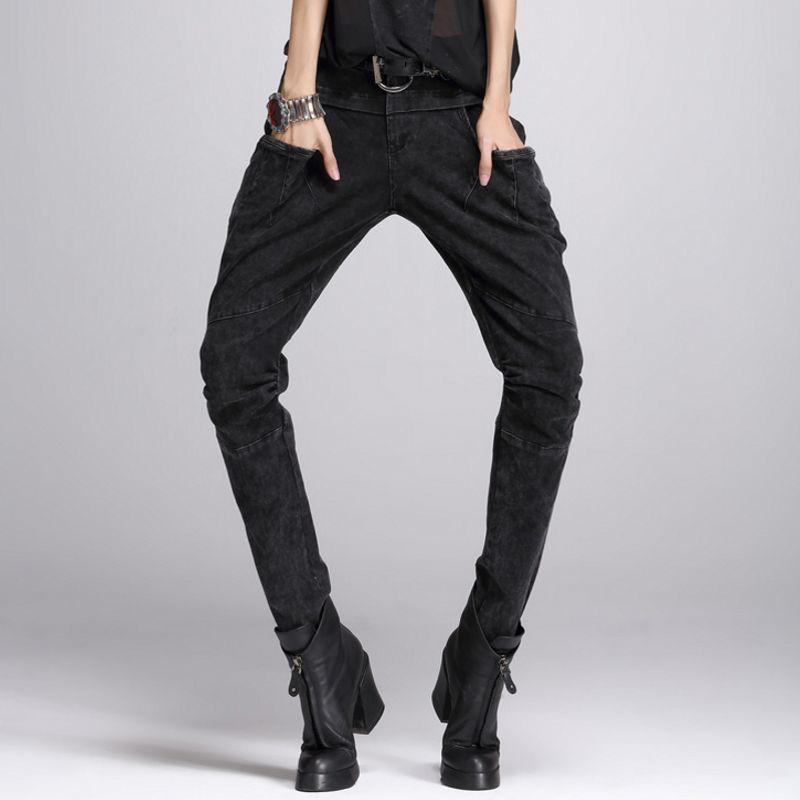 2020 New Fashion Women Long Harem Pants Washed Punk Style Retro Viintage Motorcycle Biker Female Trousers Slim Fit Jean Denim