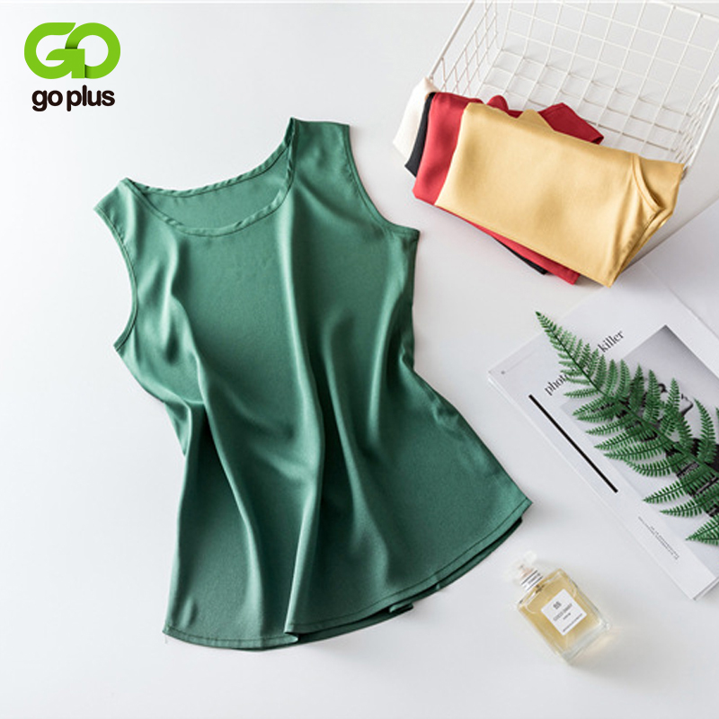 GOPLUS 2019 Soft Silk Top Womens Shirt Sexy O Neck Sleeveless Basic Crop Satin Tank Tops Women Autumn Elegant Vest