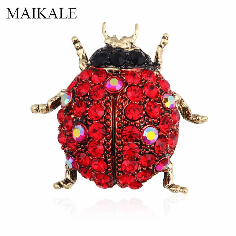 Maikale Kristal Ladybug Serangga Bros Pin Serangga Bros untuk Wanita Pakaian Anak Selendang Kemeja Tas Aksesoris Pesona Brocade Hadiah