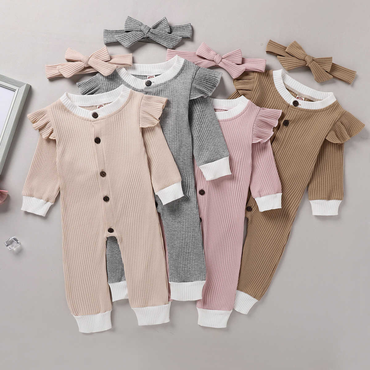 2Pcs Set Cute Newborn Baby Girls Rompers Ruffles Long Sleeve Cotton Single Breasted Jumpsuits+Headband Little Baby Outfits