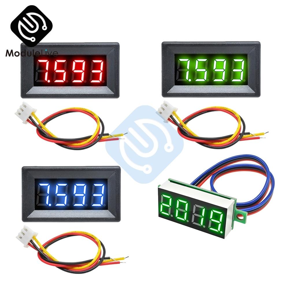0.36 Inch 0.36'' Mini Digital Voltmeter Volt Voltage Meter LED Panel Electric Voltage Tester 3 Wires 12V 24V 48V DC 0-100V 4 Bit