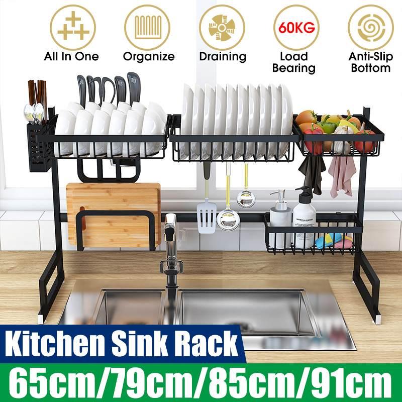 Étagère de cuisine en acier inoxydable organisateur vaisselle étendoir sur évier égouttoir cuisine stockage comptoir ustensiles support