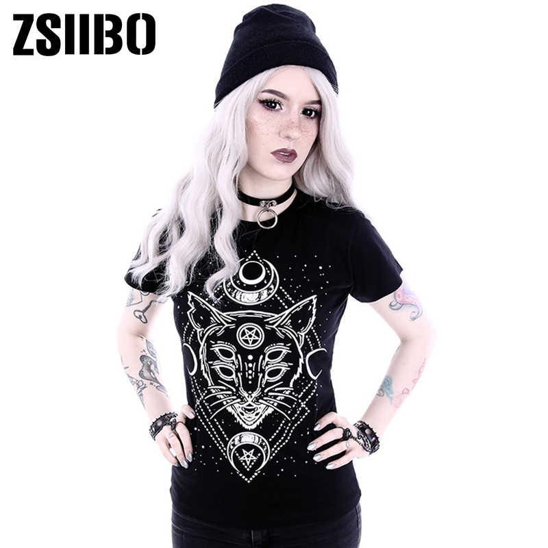 Áo Thun Nữ Năm 2019 Gothic Ngôi Sao Punk In Hình Mèo Cao Cấp Galaxy Áo Thun Nữ Tay Ngắn In Hình Mèo Đen Rời LALANG Femme quần Áo