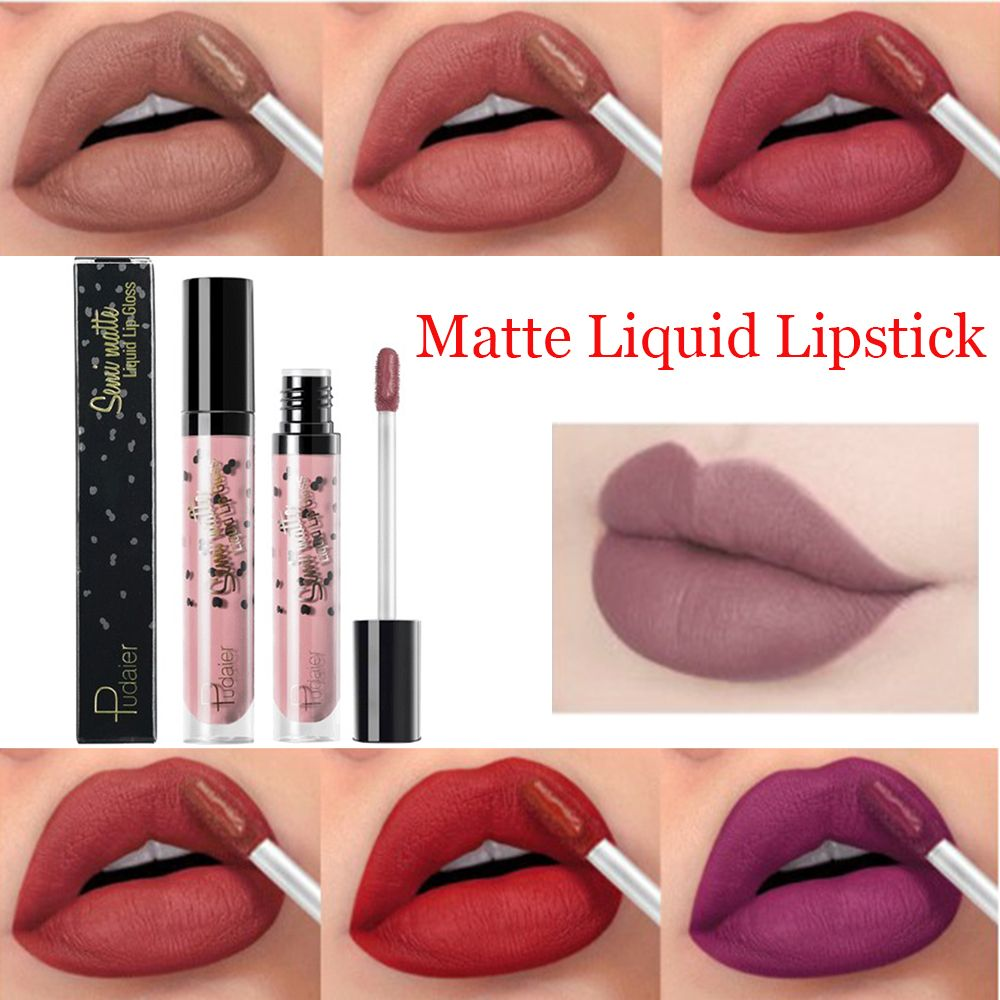 <font><b>Pudaier</b></font> Sexy Velvet Nude <font><b>Lip</b></font> <font><b>Gloss</b></font> <font><b>Cosmetics</b></font> <font><b>Matte</b></font> Liquid <font><b>Lipstick</b></font> Waterproof Natural <font><b>Lips</b></font> Tint Beauty Makeup <font><b>Lip</b></font> <font><b>gloss</b></font> <font><b>Set</b></font> image