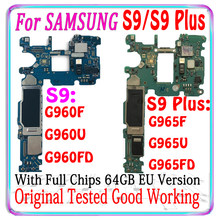 Placa base Original para Samsung Galaxy S9, G960F, G960U, G960FD, S9 Plus, G965F, G965U, G965FD, con chips completos, RAM 6G + 64GB