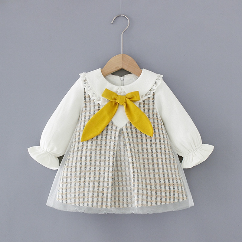 Sweet 2020 Spring Girls Dress Kids Princess Bowtie Mesh Dress Children Baby Infants Outfits Long Sleeve Dresses Vestidos S10435