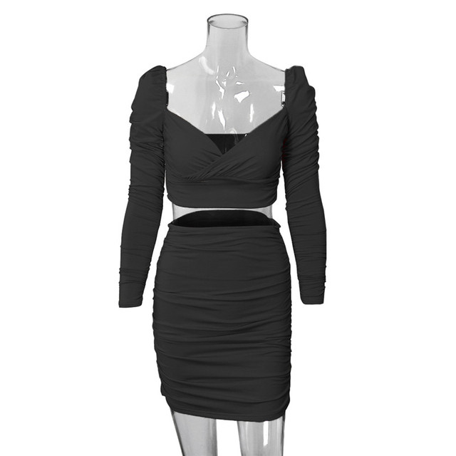 CNYISHE Winter 2020 Two Piece Sets Elegant Crop Top and Mini Skirts Suits Women's Tracksuit Solid Office Lady Matching Set Suit 6