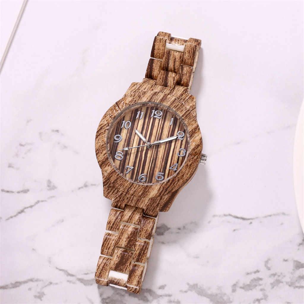ファッションメンズレディース腕時計木製の穀物ラウンドダイヤルアラビア数字樹脂バンド腕時計アナログクォーツ腕時計 zegarek damski # D