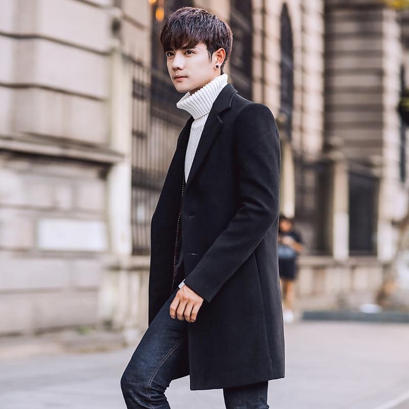 Wool Blend Men's Coat Woollen Overcoat Winter Autumn Men Coat Fashion Brand Clothing Lined Warm Woolen Overcoat Male MOOWNUC 5XL - 6
